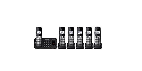 Panasonic KX-TGE445B / KX-TG3645B plus one KX-TGEA40B handset (6 Handsets Total) Cordless Phone with Answering Machine- 5 Handsets (Renewed)
