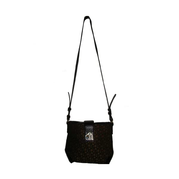 DKNY Logo Town & County Turn Lock Crossbody Bag – Brown/Black