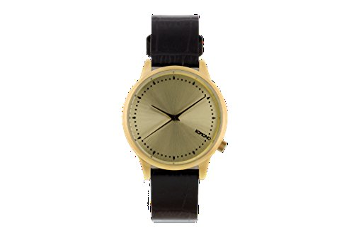 Carlo Watch Monte Leather (Komono KOM-W2702 Women's Estelle Monte Carlo Black, Gold Leather Band with Gold Dial Watch)