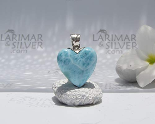 Larimar heart pendant by Larimarandsilver - Larimar 925 silver, blue heart, larimar pendant, turtleback, Larimar jewelry, mother gift - AZ572