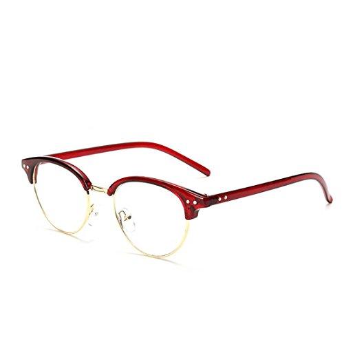 LOMEDO Classic Half Frame Clear Lens Plano Glasses Red - Eyeglasses Plano