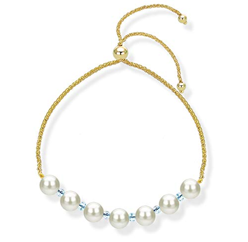 Bolo Bracelet with Simulated Blue Topaz and Freshwater Cultured Pearl 14k Yellow Gold Tennis Bracelet Adjustable Back to School Gift