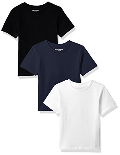 Childrens T-shirt Tee - Amazon Essentials Little Boys' 3-Pack Short Sleeve Tee, Black/Navy/White, S (6/7)