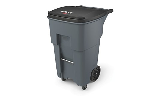 "Rubbermaid Commercial 1971971 Brute Rollout Trash Can with Casters, 65 gal/246 L, 44.740"" Height, 25.330"" Width, Gray"