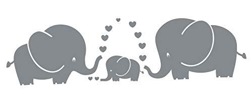 LUCKKYY Cute Three family Elephant Wall Decals for kid Room Room Decor Baby Nursery (Gray)