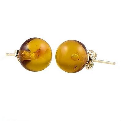 Trustmark 14K Yellow Gold 8mm Natural Baltic Honey Amber Ball Stud Post Earrings, Anya