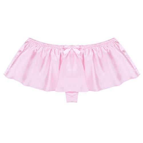 Yeahdor Men's Silky Satin Sissy Skirted G-String Thongs Crossdress Panties Girly Knickers Underwear Pink Large (Waist 31.5