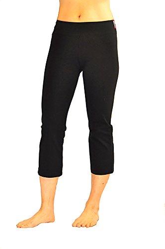 CLARANY Women's Capri Waistband Combed Cotton Spandex Yoga Pants (Medium, Black)