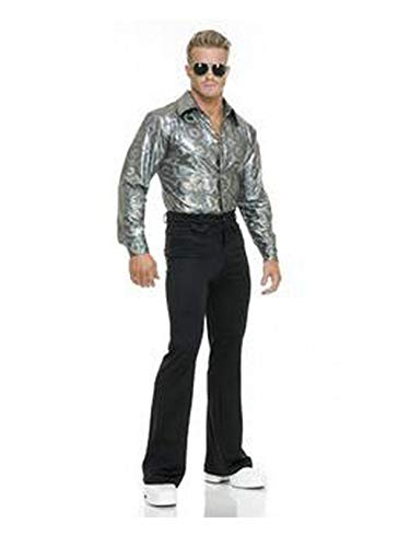 Charades Men's Silver Hologram Costume Disco Shirt, Large ()