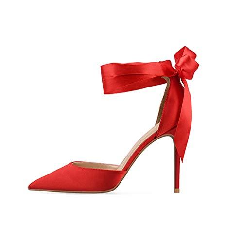 Size Satin New A Summer Small Hollow Red10cm Slim Code Tacchi Prom Alti Cena Punta In 8cm10cm Donna Raso Large Cinturini Sandali Rosso UqpEUd