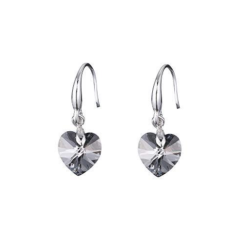 (Heart Swarovski Element 925 Silver Crystal Dangle Drop Earrings Trendy Women Bridal Wedding Earrings, Black)