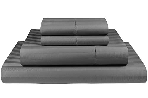(Threadmill Home Linen 500 Thread Count Damask Stripe Cotton Sheets 100% ELS Cotton Hem Stitch Luxury 4 Piece Sheet Set, Fits Mattresses up to 18 inches deep, Smooth Sateen Weave,)