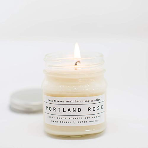 Portland Rose Scented 8 oz Mason Jar Soy Candle, used for sale  Delivered anywhere in USA