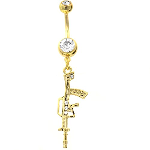 14G Gold-Tone Steel Assault Rifle Charm Belly Navel Ring w/Clear Gems (Belly Button Rings Shotgun)