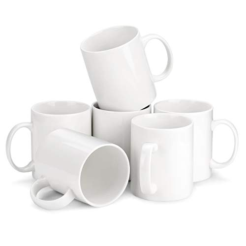 - MIWARE Porcelain Coffee Mug Set - 12 Ounce for Coffee, Tea, Cocoa, Set of 6 Mugs, White