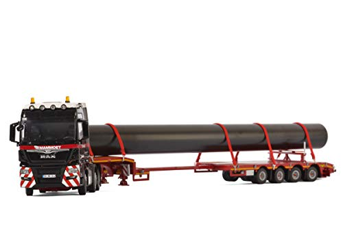 Man TGX XXL 6x2 Twin Steer Mammoet Truck with 4 Axle Low Loader Trailer and Pipe 1/50 Diecast Model by WSI Models ()