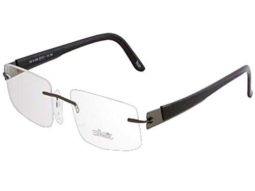 Matte Gunmetal Demo Lens - Silhouette METAL TWIST Eyeglassess (7691-6055 matte gunmetal black / clear demo lens, one size)