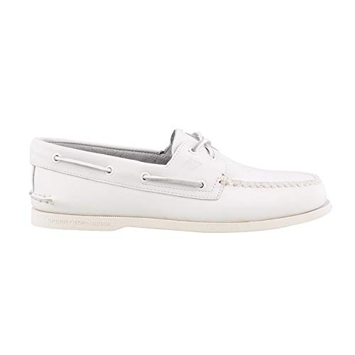 SPERRY Men's A/O 2-Eye Boat Shoe, White, 10.5
