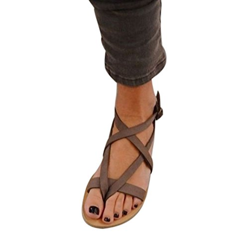 Alixyz Womens Thong Flat Sandals Strappy Ankle Strap Buckle Leisure Sandals Shoes (9 B(M) US, Brown) (Cereal Beaded)