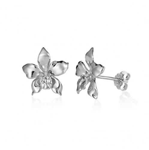 Sterling Silver Orchid Stud Earrings