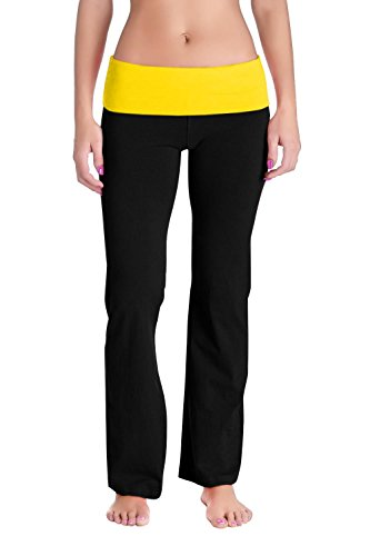 Contrasting Waistband - Womens Fold Over Waistband Yoga Sweat Pants - Solid/Contrasting Waistband