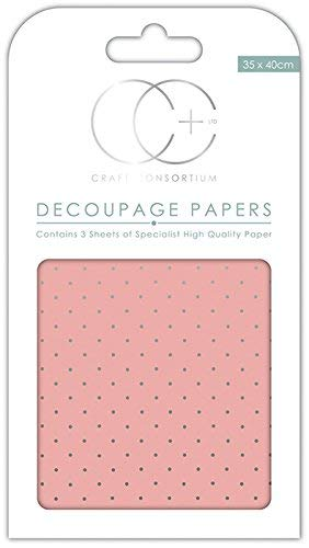 Craft Consortium Pink w//SLV-Decoupage Papier 3//Pk