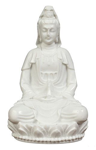 - 3in Guan Yin Statue Small. Poly Marble with White Marble Finish. Premium Quality Quan Yin Statue. Buddhist Avalokiteshvara Kuanyin/Quanyin Buddhism Statue on Lotus (Marble White). Kuan yin Statue.
