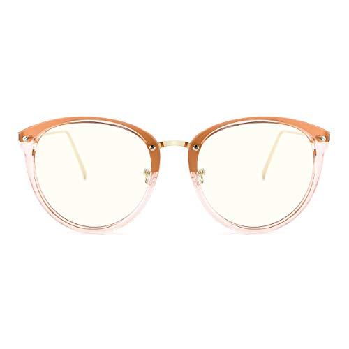 TIJN Blue Light Block Glasses|Round Optical Eyewear Non-prescription Eyeglasses Frame for Women (clear tawny(improved blue light blocking lens))