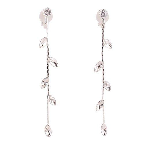 Grace Jun Silver Plated CZ Rhinestone Long Tassel Drop Earrings and Clip on Earrings No Pierced for Women (Ear clip)