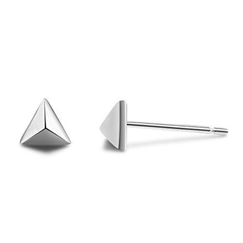 Solid Sterling Silver Stud - Minimalist 925 Sterling Silver triangle Earrings for Women Girl