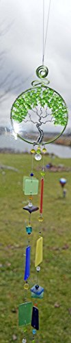 wire wrapped tree of life windchime wind chime wire sculpture one of a kind artist made in Michigan mobile hanging recycled art glass