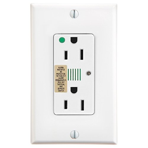 Leviton 8280-W 15 Amp, 125 Volt, Decora Plus Duplex Receptacle, Straight Blade, Hospital Grade, Self Grounding, Surge with Indicator Light, White ()