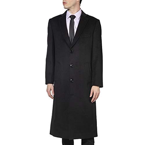 Enzo Tovare Men's 54805 Overcoat Single Breasted Luxury Wool/Cashmere Full Length Topcoat - Black - 42 ()