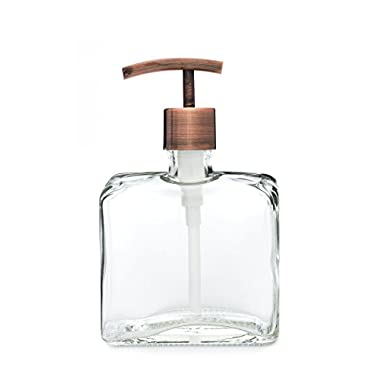 Urban Square Recycled Glass Soap Dispenser with Metal Pump (Copper Modern)