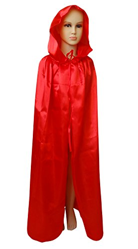 [Shapenty Child Christmas Halloween Party Devil Death Hooded Cloak Vampire Costumes Capes for Kids (Large,] (Kids Halloween Devil Costumes)