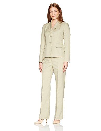 Le Suit Women's Melange Crepe Two Button Pant Suit, Sage, 18 by Le Suit