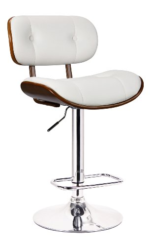 Hardwood Swivel Bar Stools - Boraam 99431 Smuk Adjustable Swivel Stool, White