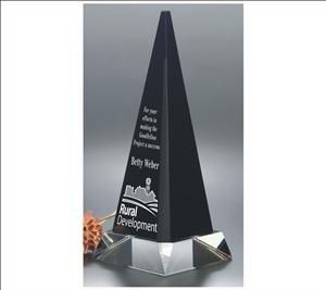 - ANEDesigns Engraved Black Crystal Obelisk Award