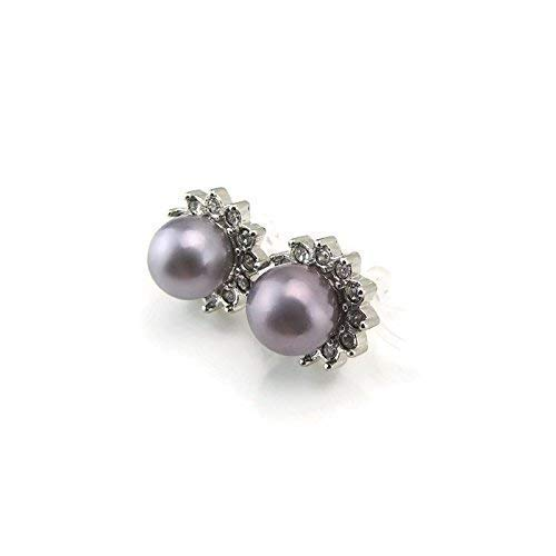 Invisible Clip On Glass Rhinestone Halo 8mm Gray Simulated Shell Pearl Earrings