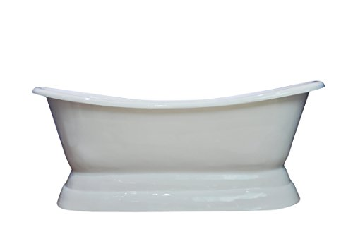 MCM3 Freestanding Luxury Cast Iron Pedestal Bathtub,First Class Material,White,with Continuous Rolled Rim,72''x31''29''-OD