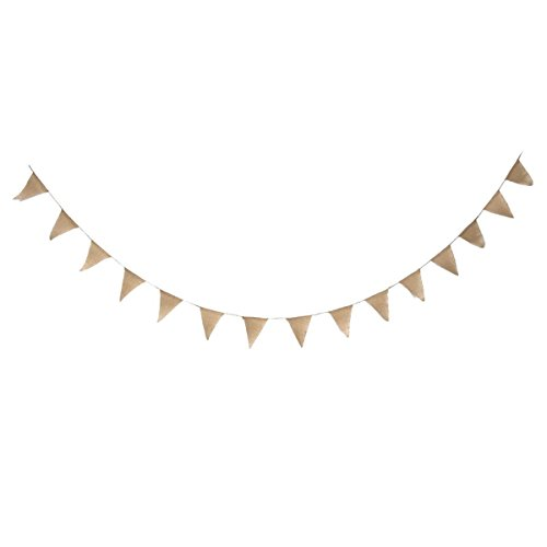 diy burlap bunting banner kit diy wedding banner pre strung 15 flags with jute cording. Black Bedroom Furniture Sets. Home Design Ideas