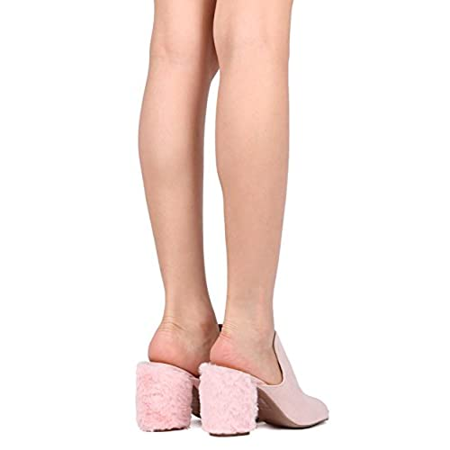 Women Faux Suede Furry Block Heel - Casual, Dressy, Versatile - Chunky Heel Mule - GG06 well-wreapped