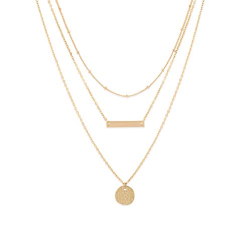 Fettero Gold Layered Choker Necklace,14K Gold Filled Boho Layering Satellite Beaded Chain Coin and Balance Bar Pendant Necklaces for Women and Girls ()