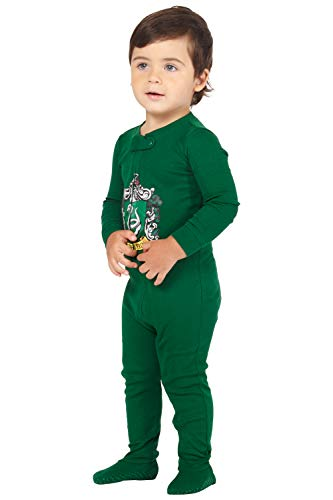 Slytherin Baby Clothes (Intimo Baby Pajamas Set Footed Jammies with Beanie Hogwarts House Slytherin (6)