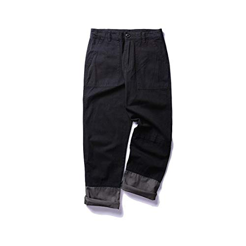Nero Dimensioni Pantaloni Studenti Lavoro Sportivi Casual Grandi Dritti Da Autunno Uomo Giovane Cargo Primavera Di qq647ZSw