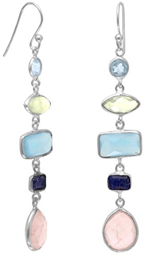 Sterling Silver French Wire Earrings, Blue Topaz/Prehnite/Chalcedony/Lapis/Rose Quartz, 2-1/8 inch (Earrings Topaz Blue Chalcedony)