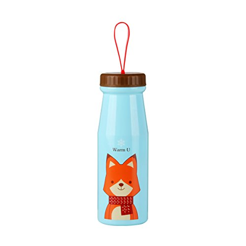 UPSTYLE Thermos Travel Mug Cute Cartoon Animal Pattern Vacuum Insulated Stainless Steel Thermos Water Bottle Coffee Thermos Vacuum Flask Vacuum Cup for Children Size 11.1oz (330 ml), Blue
