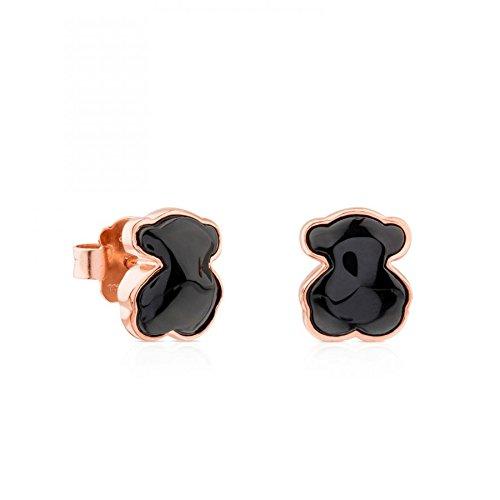 TOUS Motif Rose Vermeil Silver Onyx Bear Earrings