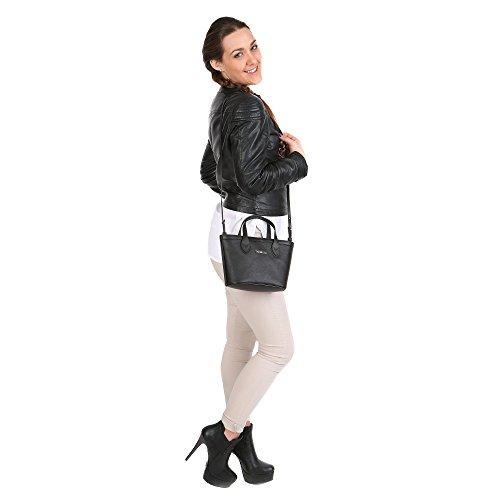 Nero Bag Piccola Mano Mod 76B103M in Borsa Cm Saffiano Shopping con – 24x16x8 a di Vera – Pelle Tracolla Vitello Trussardi R1wqtxgx