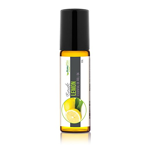 Aroma2Go Lemon 100% Pure, Undiluted, 10mL Roll-On All-Natural Plant Based Essential Oil. Therapeutic Grade Non-GMO with no Synthetics or additives. from Farm to Kitchen. ()